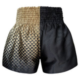 Kombat Gear Muay Thai Boxing shorts Two Tone Black Star Pattern Gold Triangles Gradient