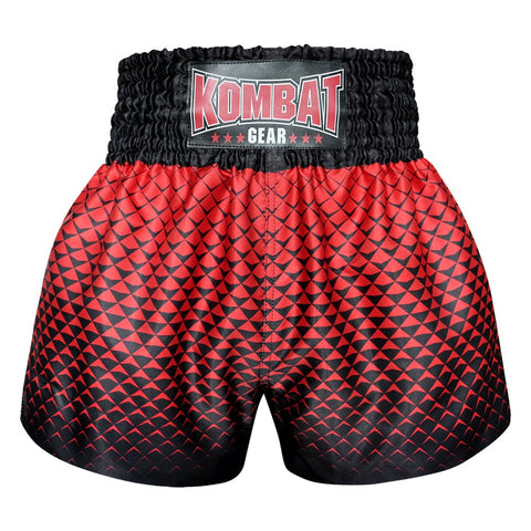 Kombat Gear Muay Thai Boxing shorts Black Triangles Gradient With Red