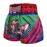 Kombat Muay Thai Boxing Geometry Shorts Green Navy Blue With Red Star Pattern And Stripe