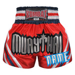 Custom Muay Thai Boxing Geometry Shorts Red With White Blue Red Stripe