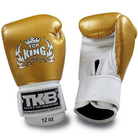 TOP KING Boxing Gloves Empower Creativity White With Gold Kevlar Printed TKBGEM02