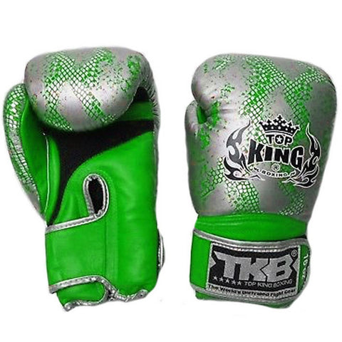 Top King Gloves Velcro Fancy Super Snake Green With Silver TKBGSS02
