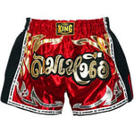 Top King Muay Thai Boxing Shorts Retro Style Red With Gold Text TKRMS-006