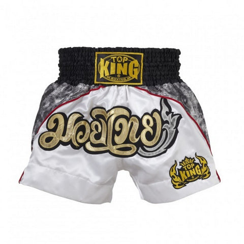 Top King Muay Thai Boxing Shorts White TKTBS-072