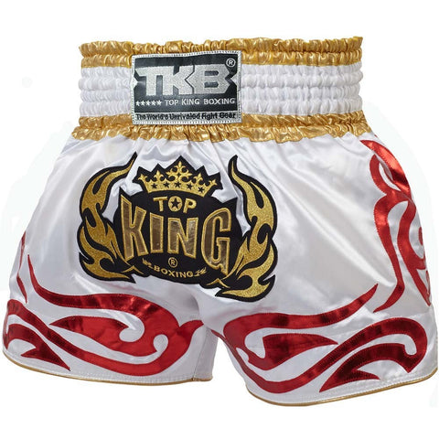 Top King Muay Thai Boxing Shorts White TKTBS-096