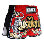TUFF Muay Thai Boxing Shorts Red Retro Style Double Tiger With Gold Text TUF-MRS301