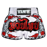 TUFF Muay Thai Boxing Shorts White Retro Style Double Tiger With Red Text TUF-MRS301