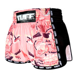 TUFF Muay Thai Boxing Shorts Pink Retro Style Birds With Roses TUF-MRS302