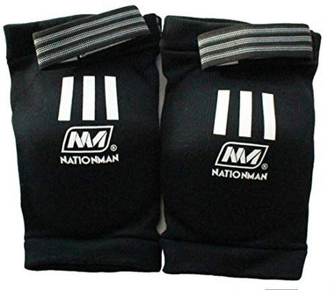 NationMan Elastic Elbow Pads Guards Muay Thai Kick Boxing MMA Guard Black