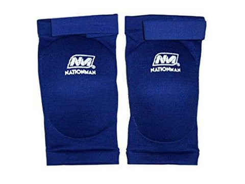 NationMan Elastic Elbow Pads Guards Muay Thai Kick Boxing MMA Guard Blue