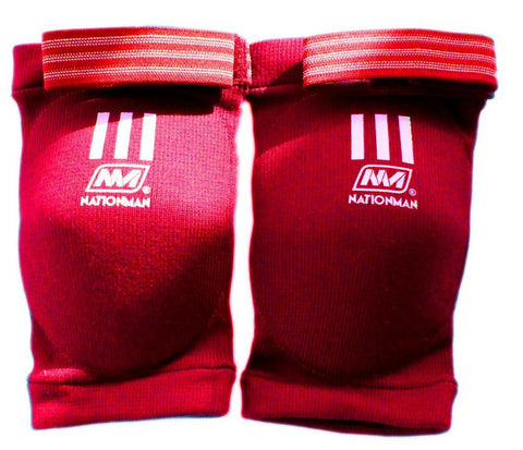 NationMan Elastic Elbow Pads Guards Muay Thai Kick Boxing MMA Guard Red