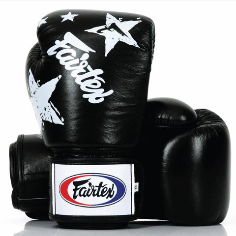 Fairtex Muay Thai Boxing Gloves Nation Print Black FTX-BGV1-NP