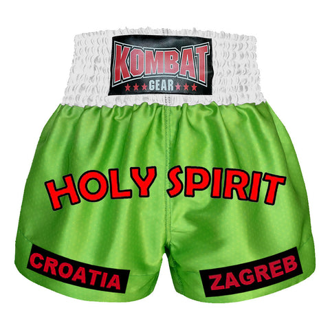 Custom Kombat Gear Muay Thai Boxing shorts Star Pattern green White Waist