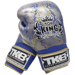Top King Gloves Velcro Fancy Super Snake Blue With Gold TKBGSS02