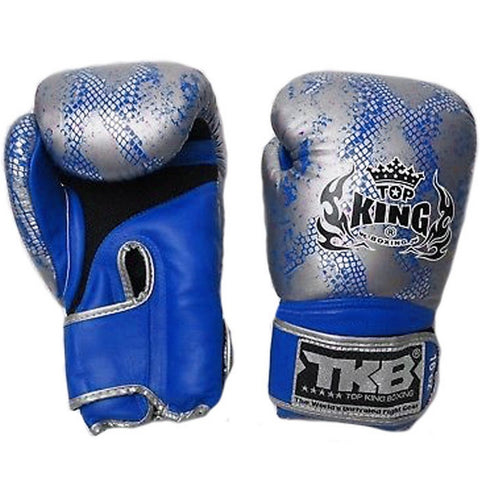 Top King Gloves Velcro Fancy Super Snake Blue With Silver TKBGSS02