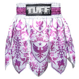 TUFF Muay Thai Boxing Shorts Gladiator Purple & White Classic Victorian Pattern