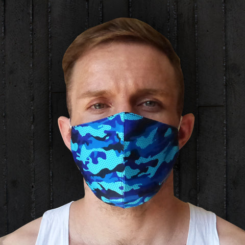 TUFF Fabric Mask Blue Military Camouflage