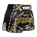 TUFF Muay Thai Boxing Shorts New Retro Style Thai King Of Naga Black