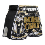 TUFF Muay Thai Boxing Shorts New Retro Style Golden Gladiator in Black TUF-MRS202