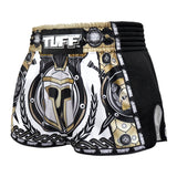 TUFF Muay Thai Boxing Shorts New Retro Style Golden Gladiator in White TUF-MRS202