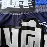 TUFF Muay Thai Boxing Shorts New Retro Style Blue War Elephant TUF-MRS203