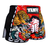 TUFF Muay Thai Boxing Shorts New Retro Style Red Chinese Dragon and Tiger TUF-MRS204