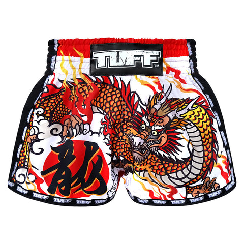 TUFF Muay Thai Boxing Shorts New Retro Style White Chinese Dragon TUF-MRS204