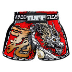 TUFF Muay Thai Boxing Shorts New Retro Style Red Chinese Dragon TUF-MRS205