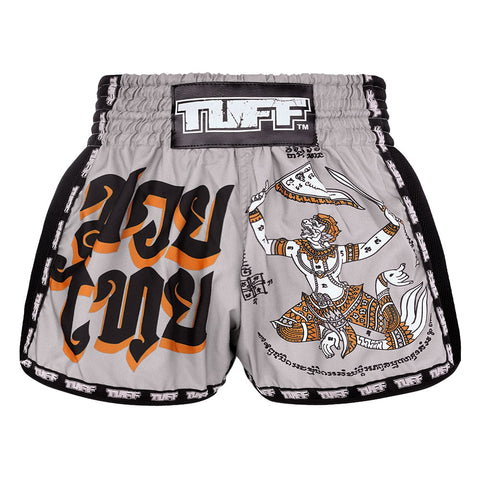 TUFF Muay Thai Boxing Shorts New Retro Style Grey Hanuman Yantra with War Flag