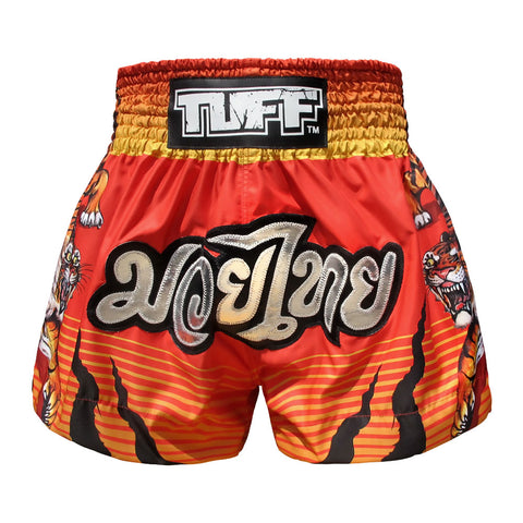 TUFF Muay Thai Boxing Shorts Red Tiger Chinese Ancient Drawing TUF-MS614-RED