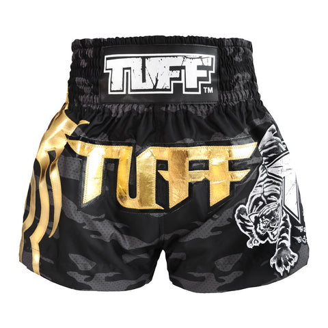 TUFF Muay Thai Boxing Shorts Black Camo Army Camouflage TUF-MS615