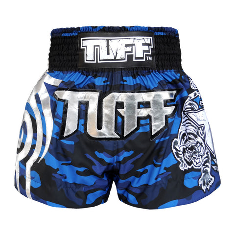 TUFF Muay Thai Boxing Shorts Blue Camo Army Camouflage