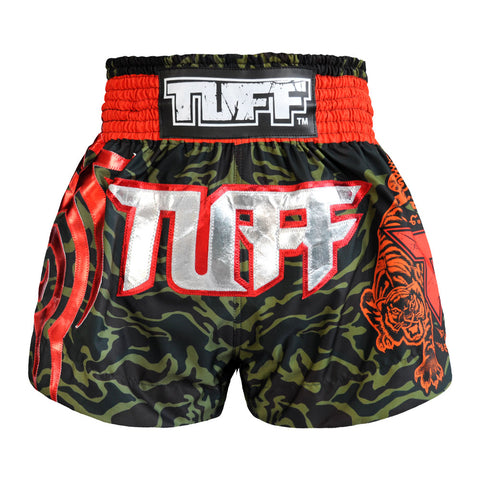 TUFF Muay Thai Boxing Shorts Green Camo Army Camouflage TUF-MS615