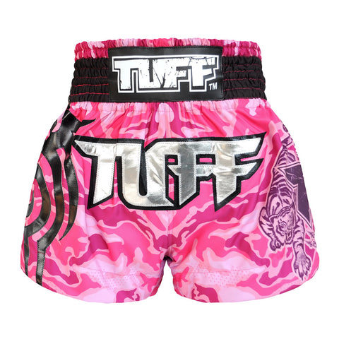 TUFF Muay Thai Boxing Shorts Pink Camo Army Camouflage TUF-MS615