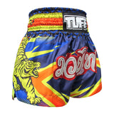 TUFF Muay Thai Boxing Shorts Blue With Double Yellow Tiger TUF-MS616