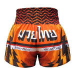 TUFF Muay Thai Boxing Shorts Orange With Black Thunderbolt & Double Tiger TUF-MS616