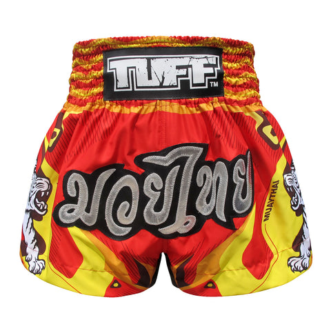 TUFF Muay Thai Boxing Shorts Red With Double White Tiger TUF-MS616
