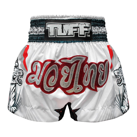 TUFF Muay Thai Boxing Shorts White With Double White Tiger TUF-MS616