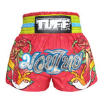 TUFF Muay Thai Boxing Shorts Pink With Classic Rose