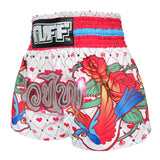 TUFF Muay Thai Boxing Shorts White With Classic Rose