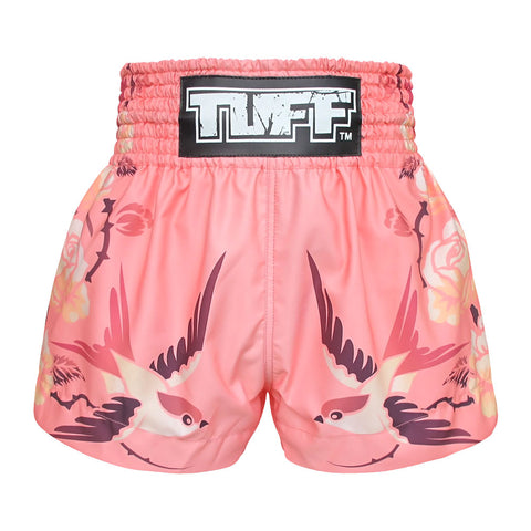 TUFF Muay Thai Boxing Shorts Pink Birds And Roses Inspired by Ancient Drawing