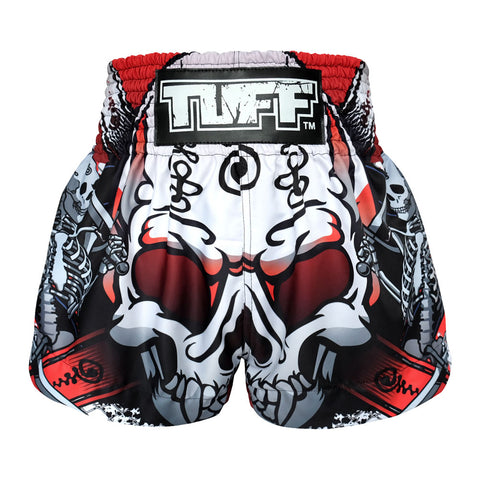 TUFF Muay Thai Boxing Shorts White Devil Skull With Double Skeleton