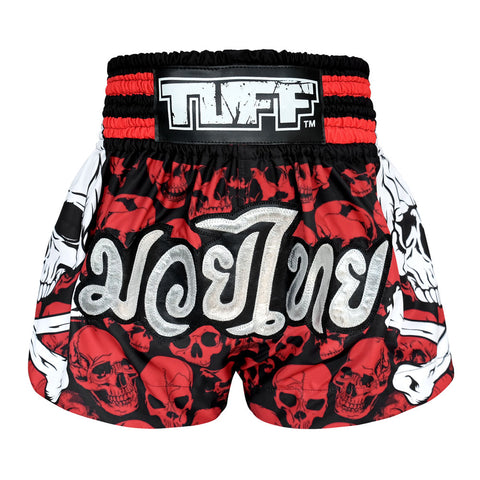 TUFF Muay Thai Boxing Shorts Battalion Skull in Red