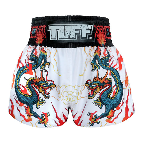 TUFF Muay Thai Boxing Shorts Blue Dragon in White