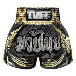 TUFF Muay Thai Boxing Shorts Thai King Of Naga Black
