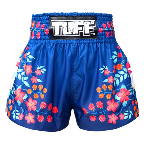 TUFF Muay Thai Boxing Shorts Blue Sakura with Nightingale Bird