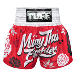 TUFF Muay Thai Boxing Shorts Red Muay Thai Fighter with Flower Pattern