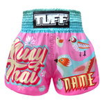 Custom TUFF Muay Thai Shorts Pink Pastel Birds Pattern