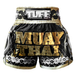 TUFF Muay Thai Boxing Shorts Golden Gladiator in Black TUF-MS634