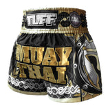 TUFF Muay Thai Boxing Shorts Golden Gladiator in Black